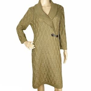 Calvin Klein Green Faux Wrap Sweater Dress, Large
